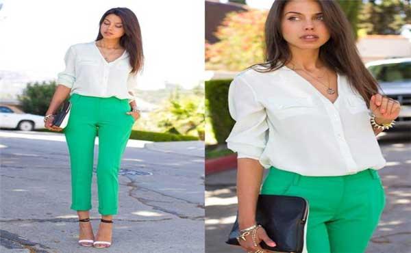 quần xanh lá cây mặc với áo màu gì? gợi ý cách phối đồ với quần xanh lá cây