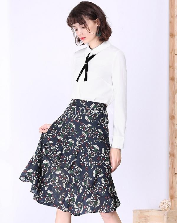 Chân váy xoè kết hợp với áo sơ mi sao cho đẹp và sang