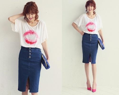 Chân váy jean bút chì kết hợp với áo gì 2