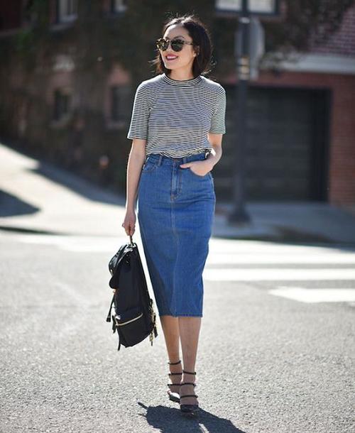 Chân váy jean bút chì kết hợp với áo gì 1