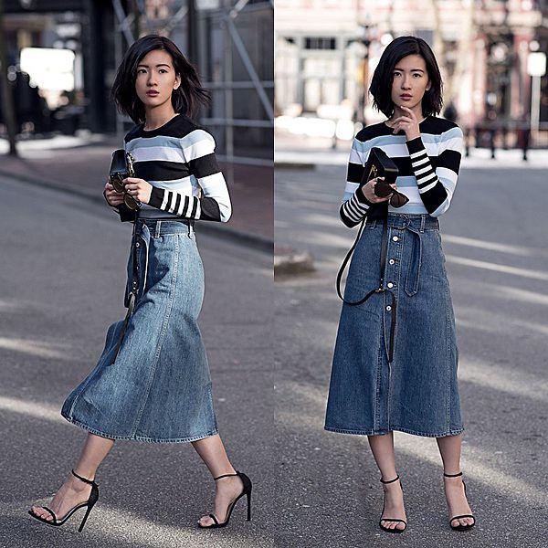 Chân váy jean kết hợp với dép xăng đan