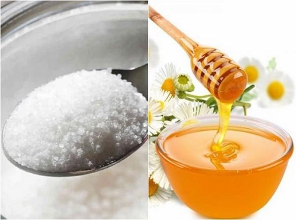 tẩy da chết bằng đường và mật ong cho da mặt