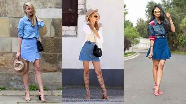 Chân váy jean cho người mập