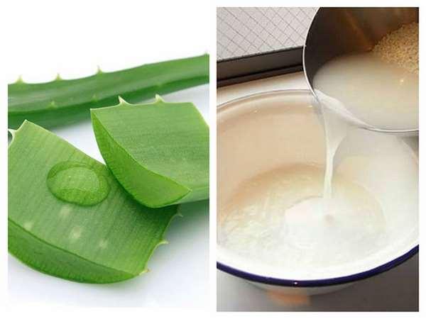 Mặt nạ dưỡng da với nha đam và nước vo gạo