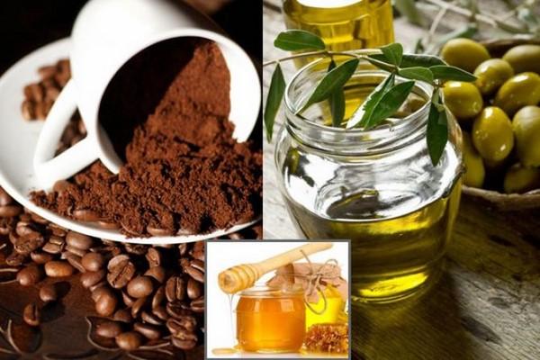 Mặt nạ tẩy da chết bằng cà phê và mật ong, dầu oliu