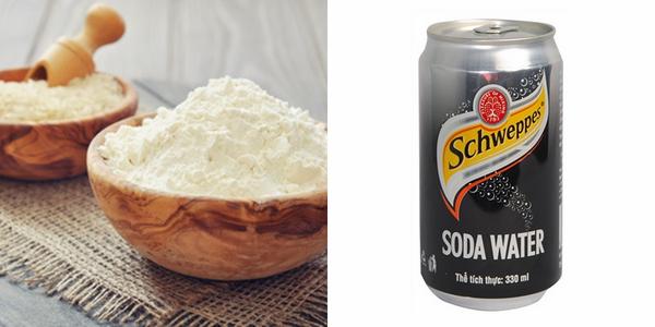 soda và cám gạo tẩy tế bào chết