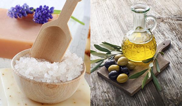 Tẩy da chết bằng dầu oliu và muối